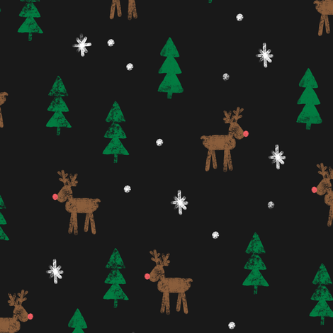 Rudolf with trees and snow (brown and green) on soft black fabric by littlearrowdesign on Spoonflower - custom fabric