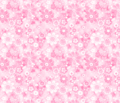 blowingflower_pink fabric by inspiring_yu on Spoonflower - custom fabric