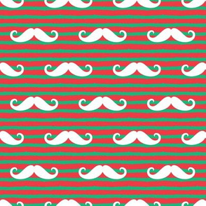 mustaches on stripes - red and green
