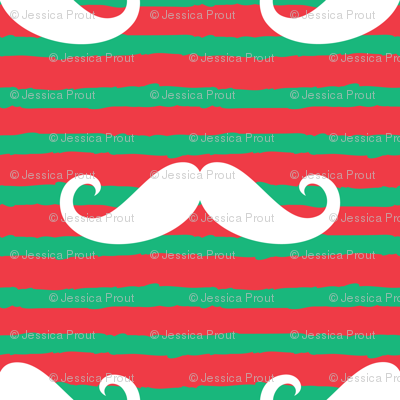 (micro scale) mustaches on stripes - red and green