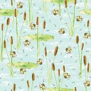 Summer Pond watercolor with Bees, Lily pads and Cattails