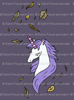 Unicorn-In-Fall-on-dark purple-gray-background