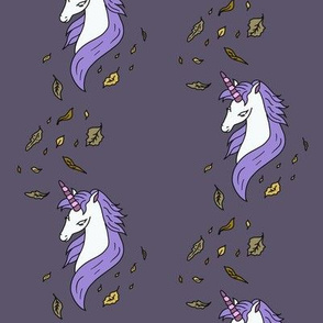 Unicorn-In-Fall-on-dark purple-gray-background