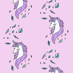 Unicorn-with-Leaves-on-pink-background