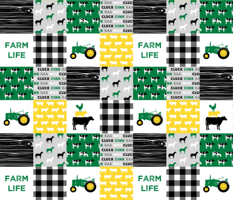 farm life - wholecloth green, custom yellow, and black - woodgrain fabric by littlearrowdesign on Spoonflower - custom fabric