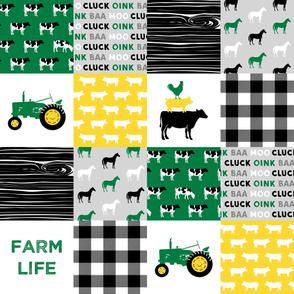 farm life - wholecloth green, custom yellow, and black - woodgrain