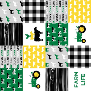 farm life - wholecloth green, custom yellow, and black - woodgrain (90)
