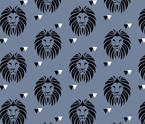 Lions in Steel fabric by snugglyjacks on Spoonflower - custom fabric