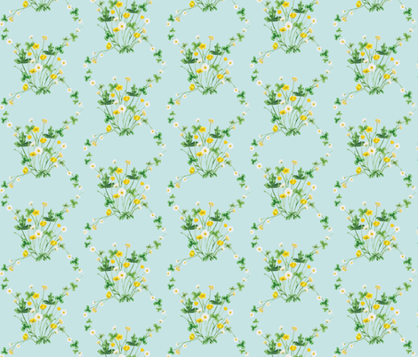 Meadow Diamond Green, Yellow, Blue fabric by thistleandfox on Spoonflower - custom fabric