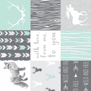 With Love Quilt - Mint and grey - fox and deer