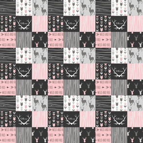 "2"" Patchwork Deer in pink, black and grey"