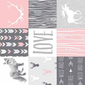 Love Quilt - Foxes, Moose, Arrows - pink and grey -  rotated