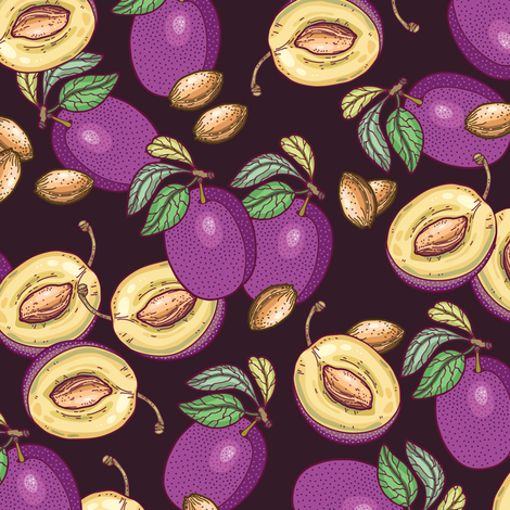 Dark plums pattern fabric by smalldrawing on Spoonflower - custom fabric