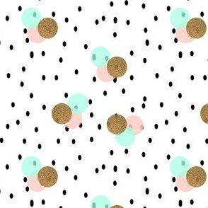 pastel and gold spots and dots