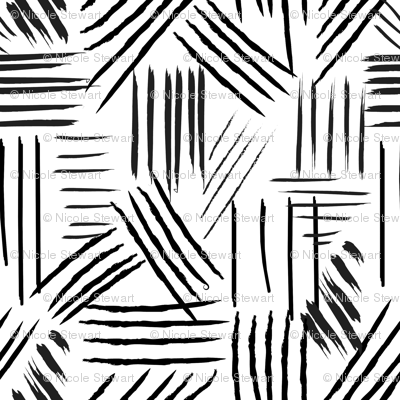 Hand drawn lines, brush strokes, Black and White, urban trends