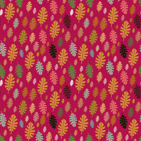 Pinky jungle leaf  fabric by stamptout on Spoonflower - custom fabric