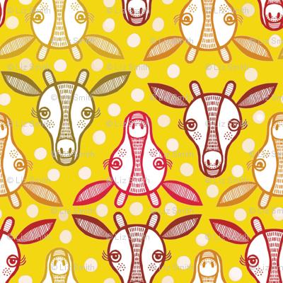 Yellow giraffe heads