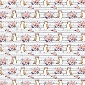 """1.5"""" Owl & Floral Bouquet / White & Lilac Polka Dots"""