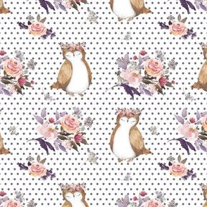 """4"""" Owl & Floral Bouquet / White & Lilac Polka Dots"""