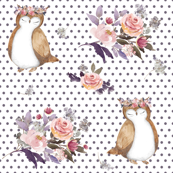 "4"" Owl & Floral Bouquet / White & Lilac Polka Dots"