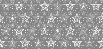 Patterned Christmas Stars grey and white