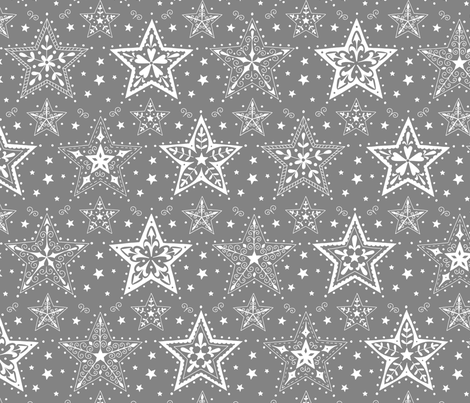 Patterned Christmas Stars grey and white fabric by hazel_fisher_creations on Spoonflower - custom fabric
