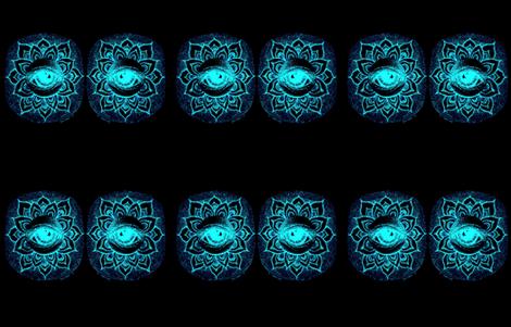 Eye_See_Lotus- Black&Aqua fabric by cloudsong_art on Spoonflower - custom fabric