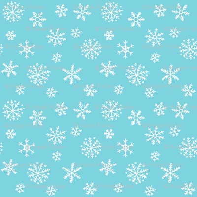 Snowflakes white on blue - smaller scale