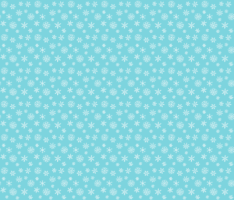Snowflakes white on blue - smaller scale fabric by hazelfishercreations on Spoonflower - custom fabric