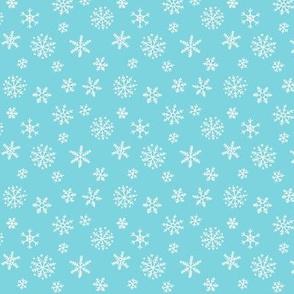 Snowflakes white on blue - smaller scale