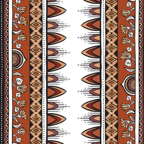 Aztec Flowers - Terracotta and Earth Tones
