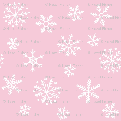 Snowflakes on pale pink
