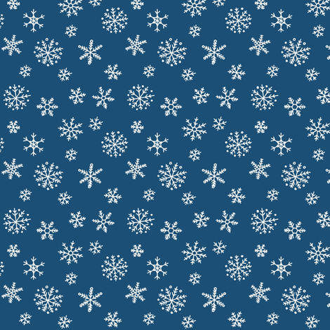Snowflakes on navy fabric by hazel_fisher_creations on Spoonflower - custom fabric