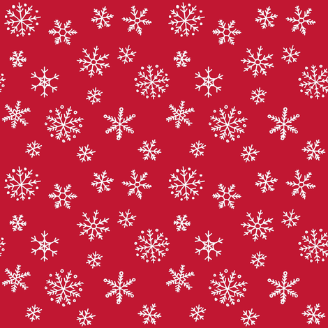 Snowflakes on red fabric by hazelfishercreations on Spoonflower - custom fabric