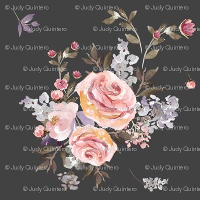 """14"""" Large Owl Floral Bouquet / Grey"""