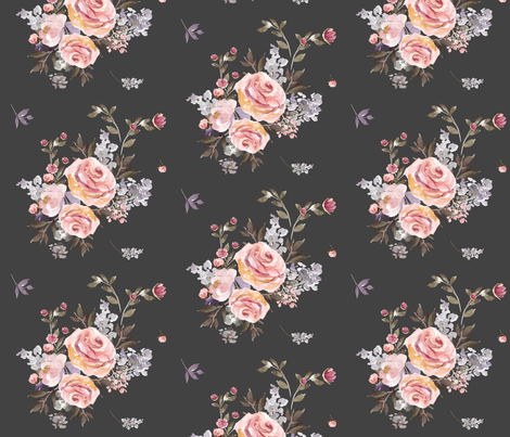 """14"""" Large Owl Floral Bouquet / Grey fabric by shopcabin on Spoonflower - custom fabric"""