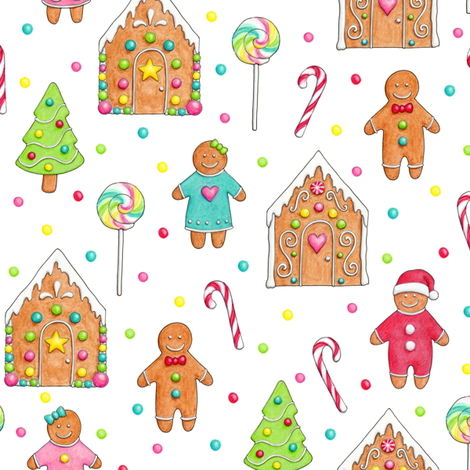 Christmas Gingerbread People & Houses - smaller scale fabric by hazel_fisher_creations on Spoonflower - custom fabric