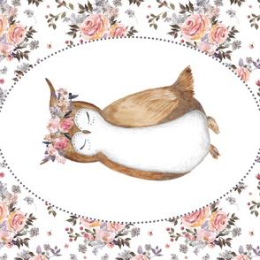 """42""""x36"""" Floral Owl & Bouquet"""