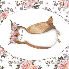 """54""""x36"""" Floral Owl & Bouquet"""