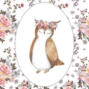 """56""""x72"""" Floral Owl & Bouquet"""