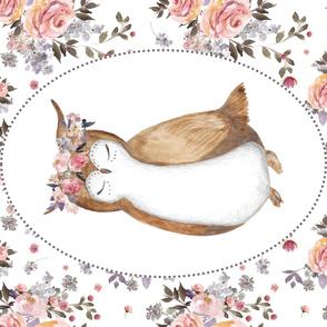 """56""""x36"""" Floral Owl & Bouquet"""