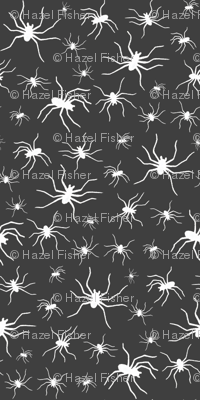 Spiders white on charcoal grey