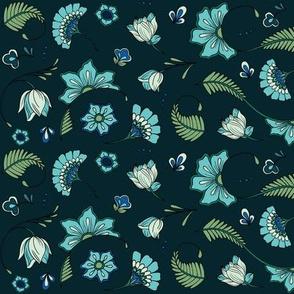 Bohemian Paisley Flowers - Teal and Aqua