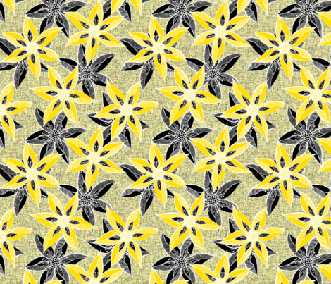 Love Blooms in Sunshine  (# 6) - Buttery Yellow on Icy Cream Linen Texture with Daffodil Yellow and Black fabric by rhondadesigns on Spoonflower - custom fabric