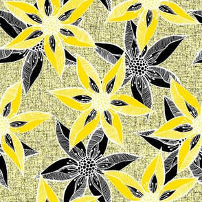 Love Blooms in Sunshine  (# 6) - Buttery Yellow on Icy Cream Linen Texture with Daffodil Yellow and Black