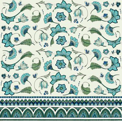 Bohemian Mandalas and Flowers - Aqua and Green