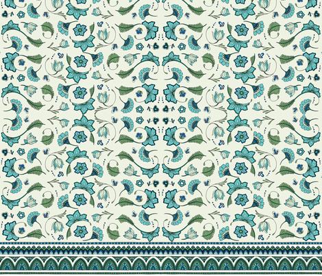 Bohemian Mandalas and Flowers - Aqua and Green fabric by colourcult on Spoonflower - custom fabric