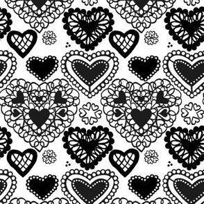 Heart Doilies Black & White