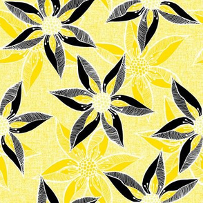 Love Blooms in Sunshine (# 7) - Daffodil Yellow on Icy Cream Linen Texture with Buttery Yellow and Black - Large Scale