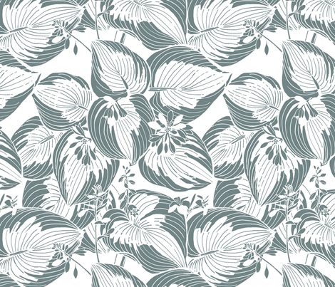 Hosta Garden | Gray on white fabric by shiere on Spoonflower - custom fabric
